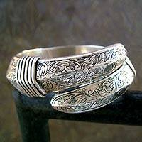 Sterling silver bangle bracelet, 'Curls' - Indian Sterling Silver Leaf Motif Bangle Bracelet