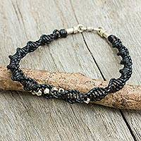 Men's leather and sterling silver bracelet, 'Modern Helix in Black' - Black Leather Macrame Bracelet for Men with Silver Beads