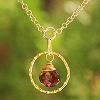 Gold vermeil garnet pendant necklace, 'Thai Delight' - Handcrafted Vermeil Garnet Pendant Necklace