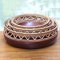 Decorative mahogany wood bowls, 'Lombok Market ' (set of 3) - Set of 3 Decorative Mahogany and Bamboo Nesting Bowls