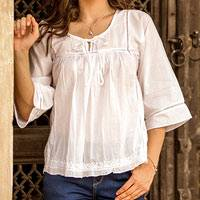 Cotton blouse, 'Floral Mist' - Embroidered White Cotton Smock