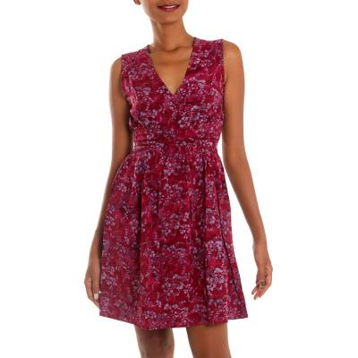 Rayon batik sundress, 'Wine Floral' - Hand Stamped Sleeveless Wine Rayon Dress from Indonesia