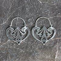 Sterling silver heart earrings, 'Taxco Romance' - Heart Shaped Sterling Silver Hoop Earrings