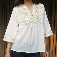 Cotton blouse, 'Dance' - Hand Made  Embroidered Cotton Blouse
