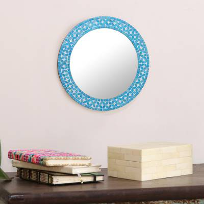Glass mosaic wall mirror, Turquoise Blossom