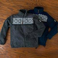 Men's wool blend fleece jacket, 'Cortina' - Italian Alps Zip Fleece Cardigan