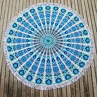Cotton beach roundie, 'Mandala Wonder' - Colorful 100% Cotton India Beach Roundie with Mandala Design