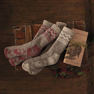 Wool blend socks, 'American Bison' - American Bison Socks