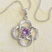 Birthstone pendant necklace, 'Celtic Knot' - Celtic Knot Birthstone Necklace