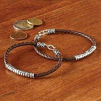 Sterling silver and leather bracelet, 'Java Groove' - Silver and Braided Leather Bracelet