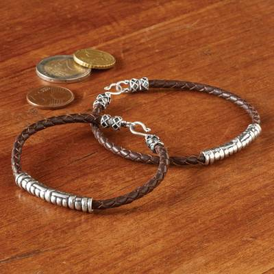 Sterling silver and leather bracelet, Java Groove