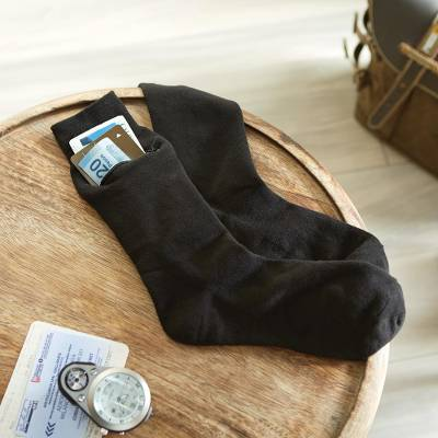 Travel socks (3 pairs), 'Zip-It' - Set of Three Pairs of Zip=It Travel Socks