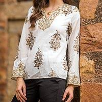 Beaded cotton tunic, 'Festive Floral Paisley' - Festive Cotton Block Print Tunic Beadwork Sequins Zari