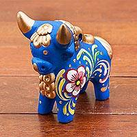 Ceramic figurine, 'Blue Pucara Bull' - Hand Painted Blue Ceramic Bull Sculpture Floral from Peru