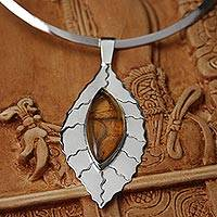 Amber choker, 'Jatoba Leaf' - Amber and Sterling Silver Choker from Mexico