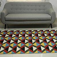 Wool area rug, 'Colorful Illusion I' (5x8) - Colorful Hand Woven Flatweave Wool Area Rug (5x8)