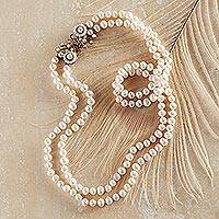 Cultured pearl strand necklace, 'Caserta Palace' - Caserta Palace Pearl Necklace