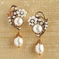 Cultured pearl dangle earrings, 'Caserta Palace' - Caserta Palace Pearl Earrings