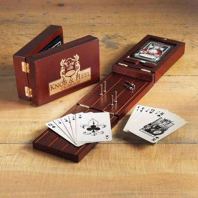 Wood cribbage game, 'Knob and Heel' - English Pub Cribbage Game