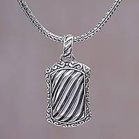 Men's sterling silver pendant necklace, 'Bali Winds' - Sterling Silver Men's Spiral Pendant Necklace from Indonesia