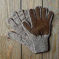 Leather and wool gloves, 'Winter Expedition' - Knit Merino and Bison Leather Gloves