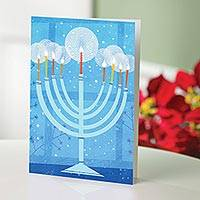 UNICEF holiday cards, 'Menorah' (set of 12) - Menorah Set of 12 UNICEF Cards