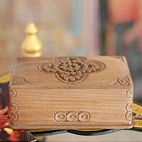 Wood jewelry box, 'Medallion' - Wood jewelry box