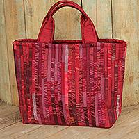 Silk tote bag, 'Exotic Red' - Red Hill Tribe Silk Patterned Tote Bag with Inner Pockets