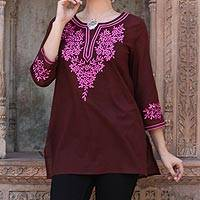 Cotton tunic, 'Flower Chase' - Brown Cotton Tunic Top with Pink Floral Embroidery