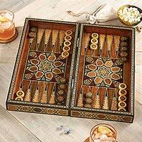 Wood mosaic backgammon set, 'Mesopotamian Match' - Mosaic Wood-inlaid Backgammon Set