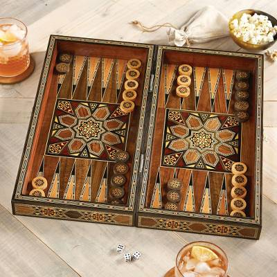 Mosaic Wood-inlaid Backgammon Set