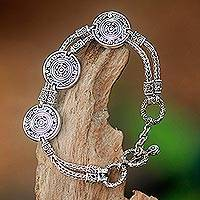 Sterling silver charm bracelet, 'Coins of the Kingdom' (small) - Indonesian Good Fortune Sterling Silver Bracelet