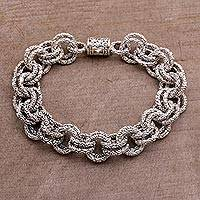 Sterling silver chain bracelet, 'Clouds' - Opulent Sterling Silver Chain Bracelet from Bali