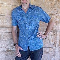 Men's cotton shirt, 'Blue Bali Expedition' - Men's Short Sleeve Blue Cotton Batik Shirt