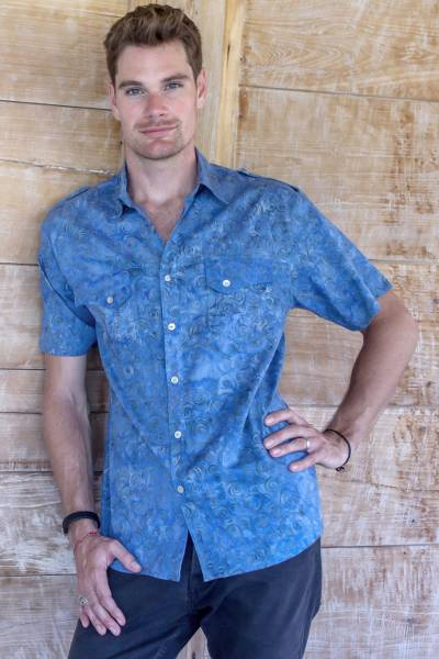 Mens cotton shirt, Blue Bali Expedition