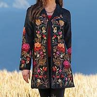 Featured review for Embroidered silk jacket. Himalayan Meadow