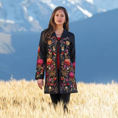 Embroidered silk jacket. 'Himalayan Meadow' - Himalayan Embroidered Silk Jacket