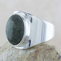 Men's jade ring, 'Power of Life' - Handmade Men's Sterling Silver Signet Jade Ring
