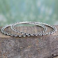 Sterling silver bangle bracelets, 'Zigzag Path' (pair) - Artisan Crafted Oxidized Sterling Silver Bangles (Pair)