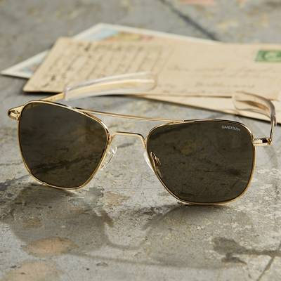 Men's 23k gold plated sunglasses, 'Classic Aviator' (55mm) - Authentic Aviator Sunglasses