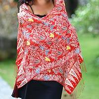 Silk batik shawl, 'Brave Java' - Artisan Crafted Women's Batik Silk Shawl