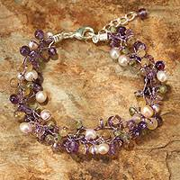 Cultured pearl and amethyst beaded bracelet, 'Mystic Passion' - Handcrafted Pearl and Amethyst Bracelet