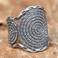 Sterling silver cocktail ring, 'Hill Tribe Moon' - Handcrafted Sterling Silver Band Ring