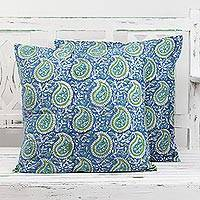 Cotton cushion covers, 'Cerulean Paisleys' (pair) - Pair of Paisley Cotton Cushion Covers in Cerulean and Olive