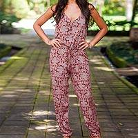 Rayon jumpsuit, 'Bali Brocade' - Handmade Sleeveless Women's Jumpsuit from Indonesia