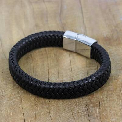 Leather wristband bracelet, 'Best Friend in Black' - Black Braided Leather Wristband Bracelet from Thailand