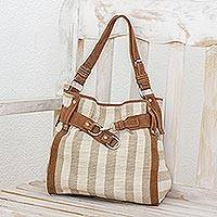 Leather accent cotton handbag, 'Just My Size' - Central American Cotton Shoulder Bag