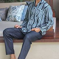 Men's cotton pajamas, 'Ocean Fog' - Men's cotton pajamas