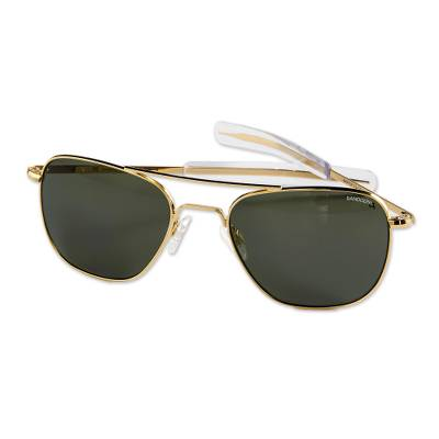 Men's 23k gold plated polarized sunglasses, 'Classic Aviator' (55mm) - Authentic Aviator Sunglasses-Polarized Lenses