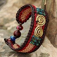 Brass pendant wristband bracelet, 'Siam Spirals' - Brass and Reconstituted Turquoise Braided Wristband Bracelet